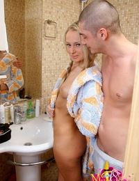 Slim teen Ivana fucking and blowing in the bathroom