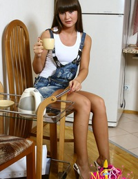 Sexy teen Bella got huge dildo as a birthday present