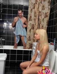 Sexy blonde teen Anuschka got fucked in a toilet room