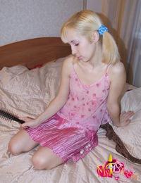 Amazing blonde babe Leka enjoys sucking on juicy lollipops but prefers sucking on huge mean cock!