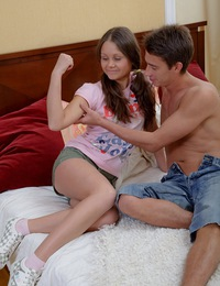 Teen pussy stretched and fucked
